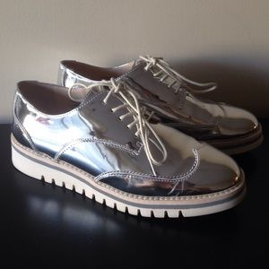 Zara Metallic Silver Brogue Loafers
