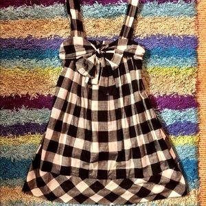 Checkered Gingham Ribbon Bow Dress
