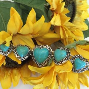 T&J Designs Jewelry - Last one left! 5⭐️TURQUOISE HEART SILVER BRACELET