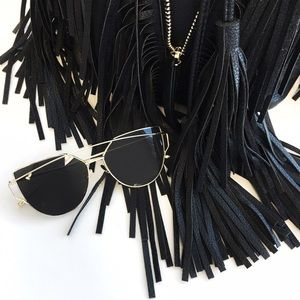 Black & Gold Aviator Sunglasses