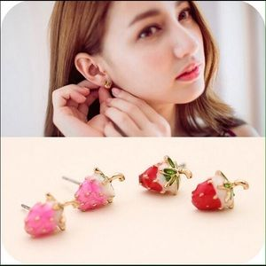 Cute strawberry stud earrings