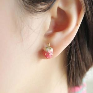 Jewelry - Cute pink strawberry stud earrings
