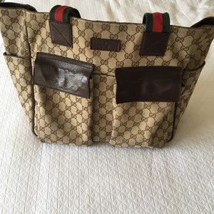 Gucci Handbags - Gucci Tote Bag with Leather Pockets