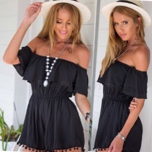 ⬛️Off the shoulder mini chiffon dress◼️