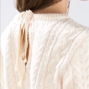 Zara cable knit tie back sweater