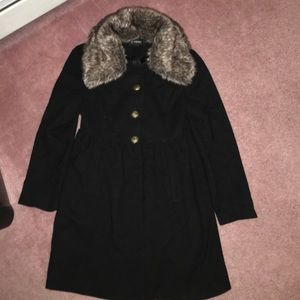 CoffeeShop Jackets & Blazers - Long Peacoat with Faux Fur (Removable) Collar