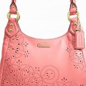 Coach Ashley tossed laser cut lace leather hobo