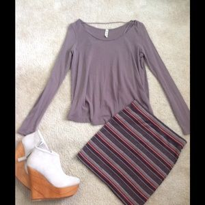 Free People striped mini skirt size XS