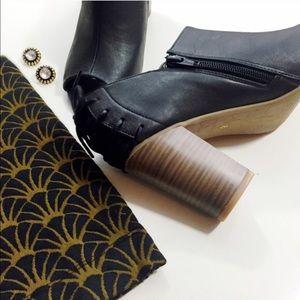 BC Footwear Shoes - BC Footwear Black Corset Block Heel Booties, Sz 8