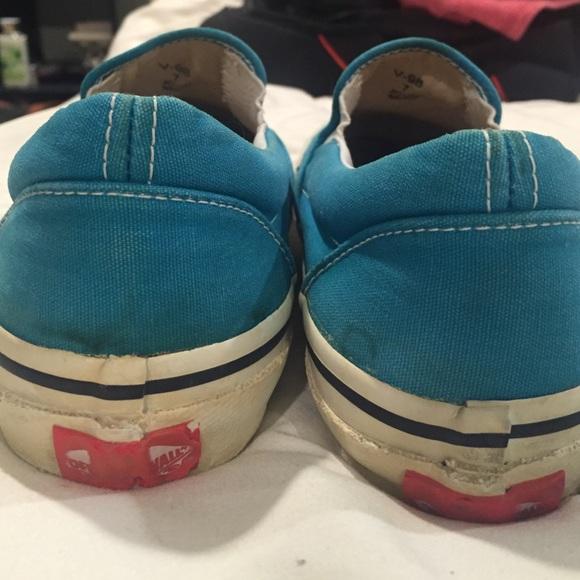 83% off Vans Shoes - Teal Slip On Vans Womens size 8 Mens size 6.5 ...