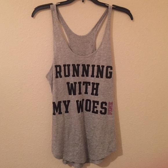 26% off PINK Victoria's Secret Tops - PINK Running With My Woes ...