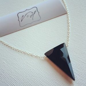 Faceted Onyx Inverted Triangle Necklace