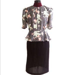 Vintage 80s Sheath Dress Peplum Top Black S M