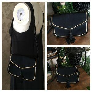 VTG Black w Gold Piping Shoulder Bag or Clutch
