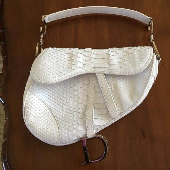 Christian Dior white Python saddle bag