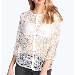 Sadie crochet open lace cardigan NWT