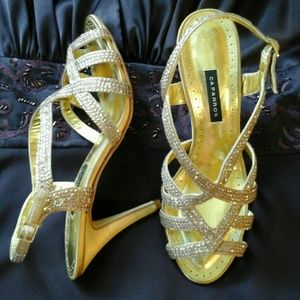 Caparros Shoes - GORGEOUS GOLD SANDAL HEELS WITH RHINESTONES