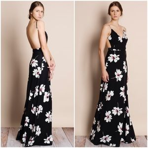 """Moonset"" Floral Print Backless Maxi Dress"
