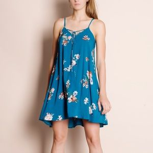 """Color of the Sky"" Floral Printed Mini Dress"