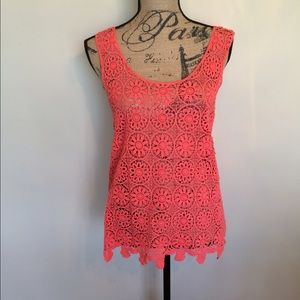 Fever coral lace top NWT
