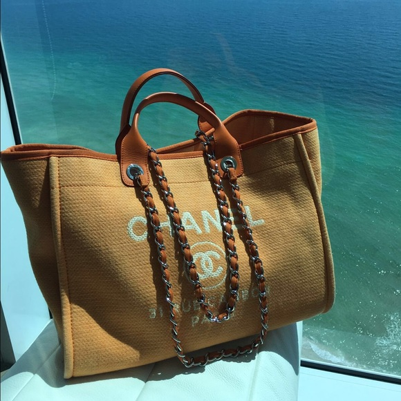 9ddb17a45d66 46% off CHANEL Handbags - ❤ SOLD CHANEL DEAUVILLE ORANGE TOTE .