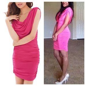 Dresses & Skirts - Pink stretchy ruched short dress.