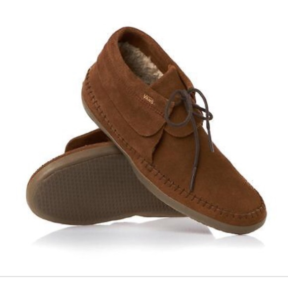 cb0877b0f889dd Vans Brown Faux Leather   Fleece Mohikan Moccasins.  M 5717d4b9c284561788008e24