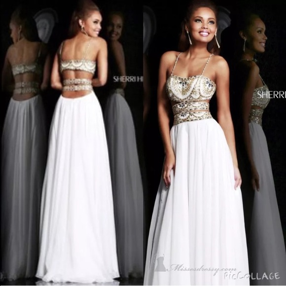 Sherri Hill Dresses | Gold White Size 0 Prom