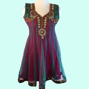 Bollywood Boho Beaded Sparkle Dress Fuchsia Teal