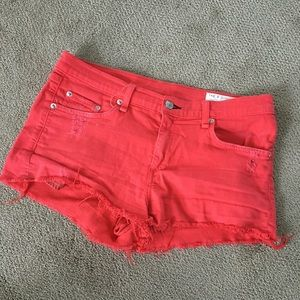 SALE! Rag & Bone cut off jean shorts / bright red
