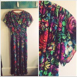  Vintage 70's Barkcloth Floral Maxi Dress