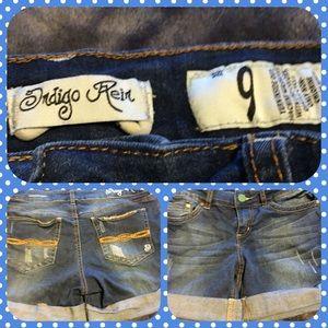Indigo Rein Pants - Indigo Rein Cuffed Denim Shorts.