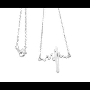 Jewelry - Silver Tone heart beat , heart line Necklace