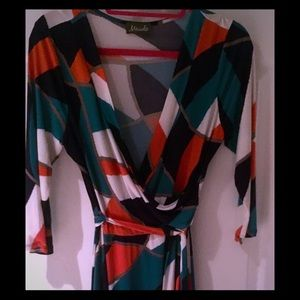 Maude Dresses & Skirts - Abstract Blue, Orange and Green Wrap Dress