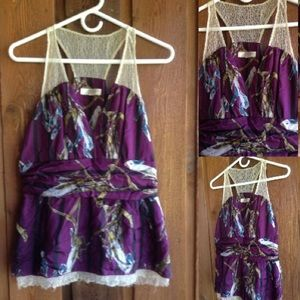 Kenar Tops - Luxurious deep purple and gold tank