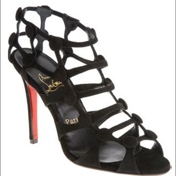 77a5b7be839 New Christian Louboutin Suede Neuron cage sandals
