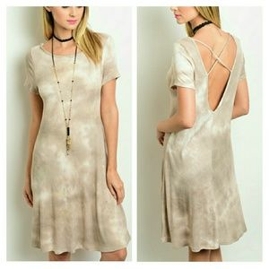 Autumn Tye Dye Rayon Strappy T-shirt Dress