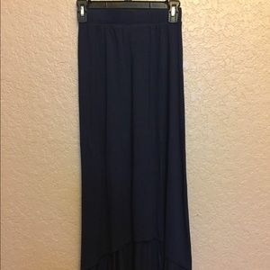 Navy blue high to low maxi skirt