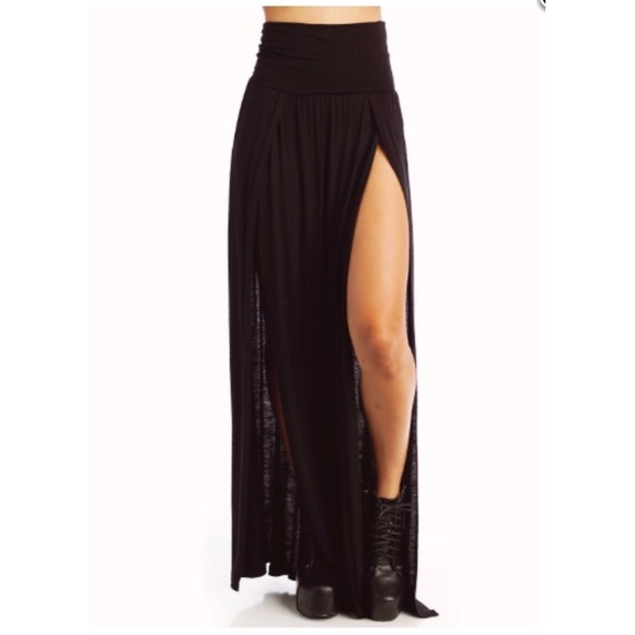 1144142e6ba Boutique Dresses   Skirts - Black Double Slit Maxi Skirt