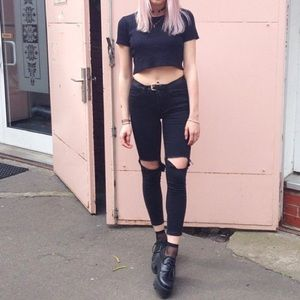 UNIF Denim - UNIF Black Burn Skinnies