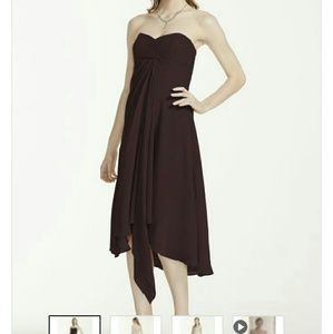 David's Bridal brown chiffon dress
