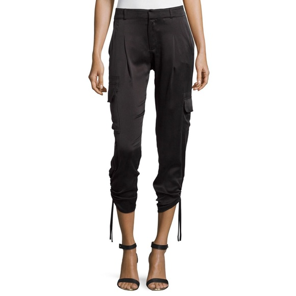 63% off Parker Pants - Parker black silk cargo crop pants ...