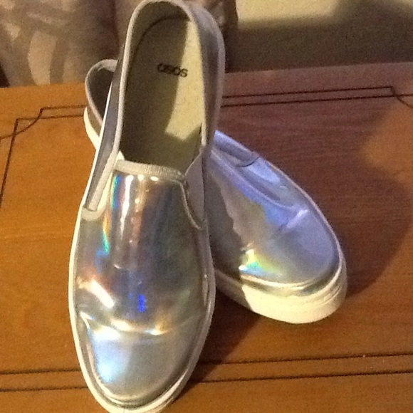 asos holographic slip on shoes from adrienne s closet on