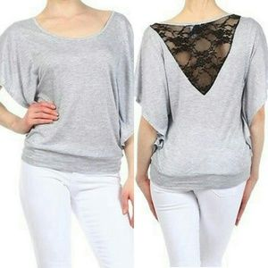 Tops - Lace Back Flutter Sleeve Top