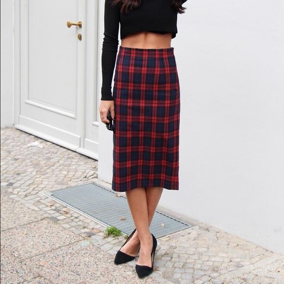 Zara Plaid Pencil Skirt. M 571850f3fbf6f9449c00a74c eac338b7392d