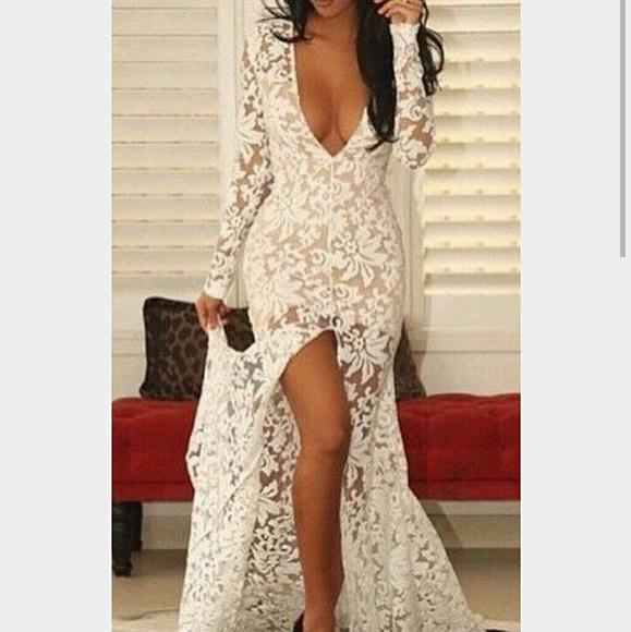 V Neck White Lace Dress