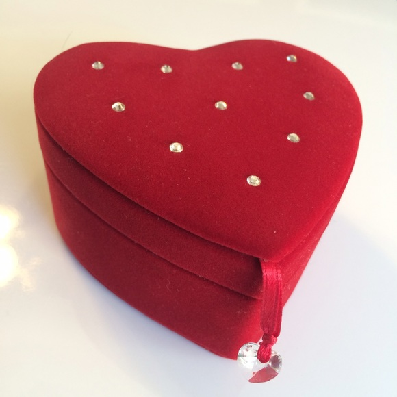 70 off Swarovski Jewelry Red Velvet Heart Shaped Box Poshmark