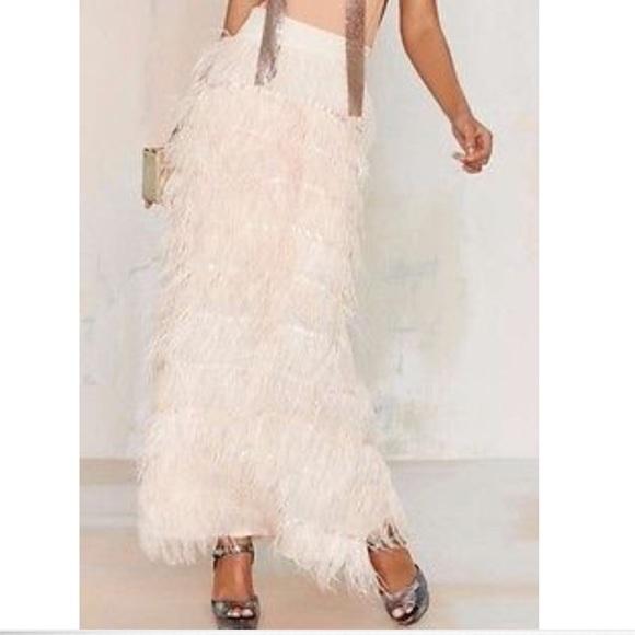 b1d0f21e2 Line & Dot Skirts | Line Dot Feather Long Maxi Skirt S | Poshmark