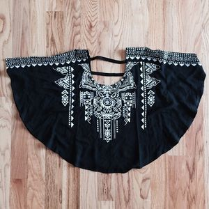 Tops - Black Printed Poncho Top