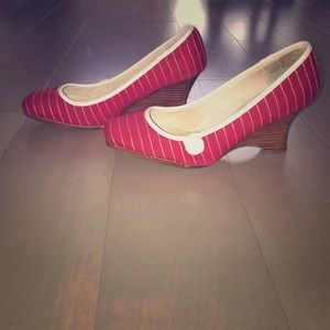 Nautical summer heels w wood wedge